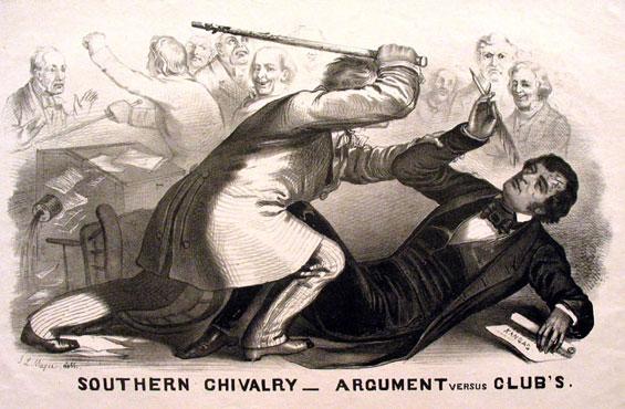 Preston Brooks caning Charles Sumner on the Senate floor in 1856