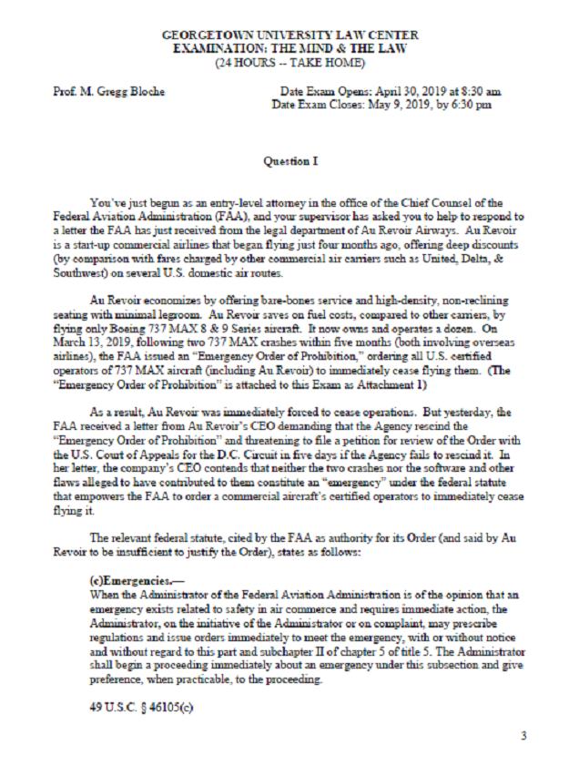 Georgetown Law Exam Hypo Based On Plane Crash That Killed