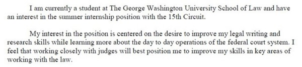 15th Circuit Cover Letter Snippet