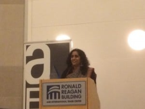 Sapna Pandya, giving her acceptance speech.