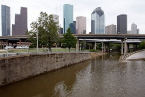 HOUSTON - SEPTEMBER 14:  A few low lying areas surrounding Downtown houston are still  flooded from Hurricane Ike September 14, 2008 in Houston, Texas. Ike caused extensive damage along the Texas Gold Coast, leaving millions without power.  (Photo by Chris Graythen/Getty Images)