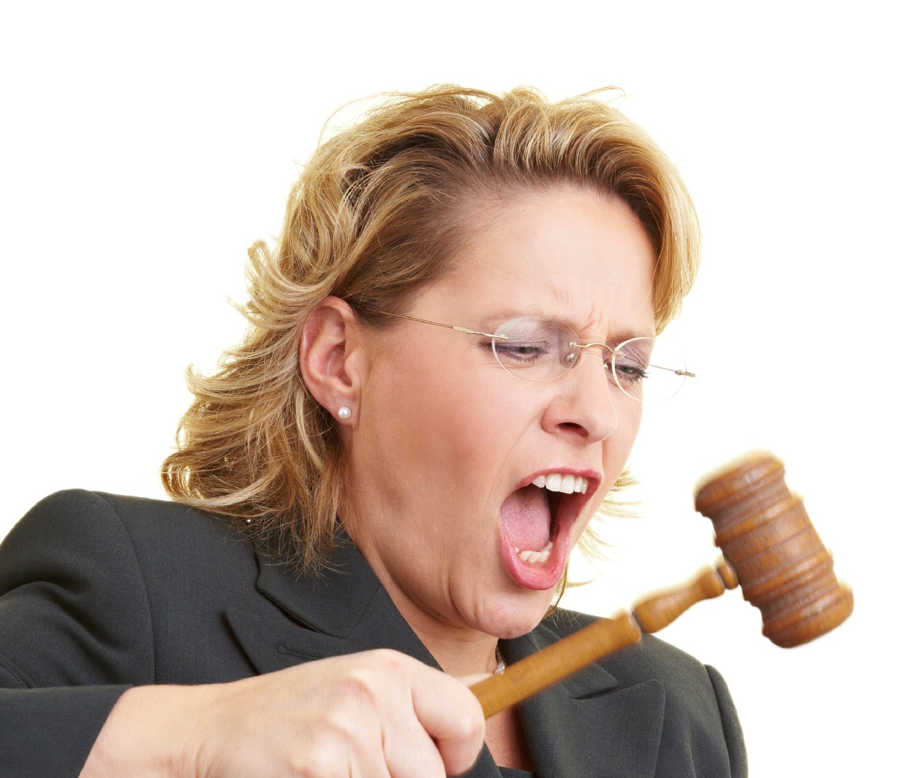 Female judge beating gavel with a hammer