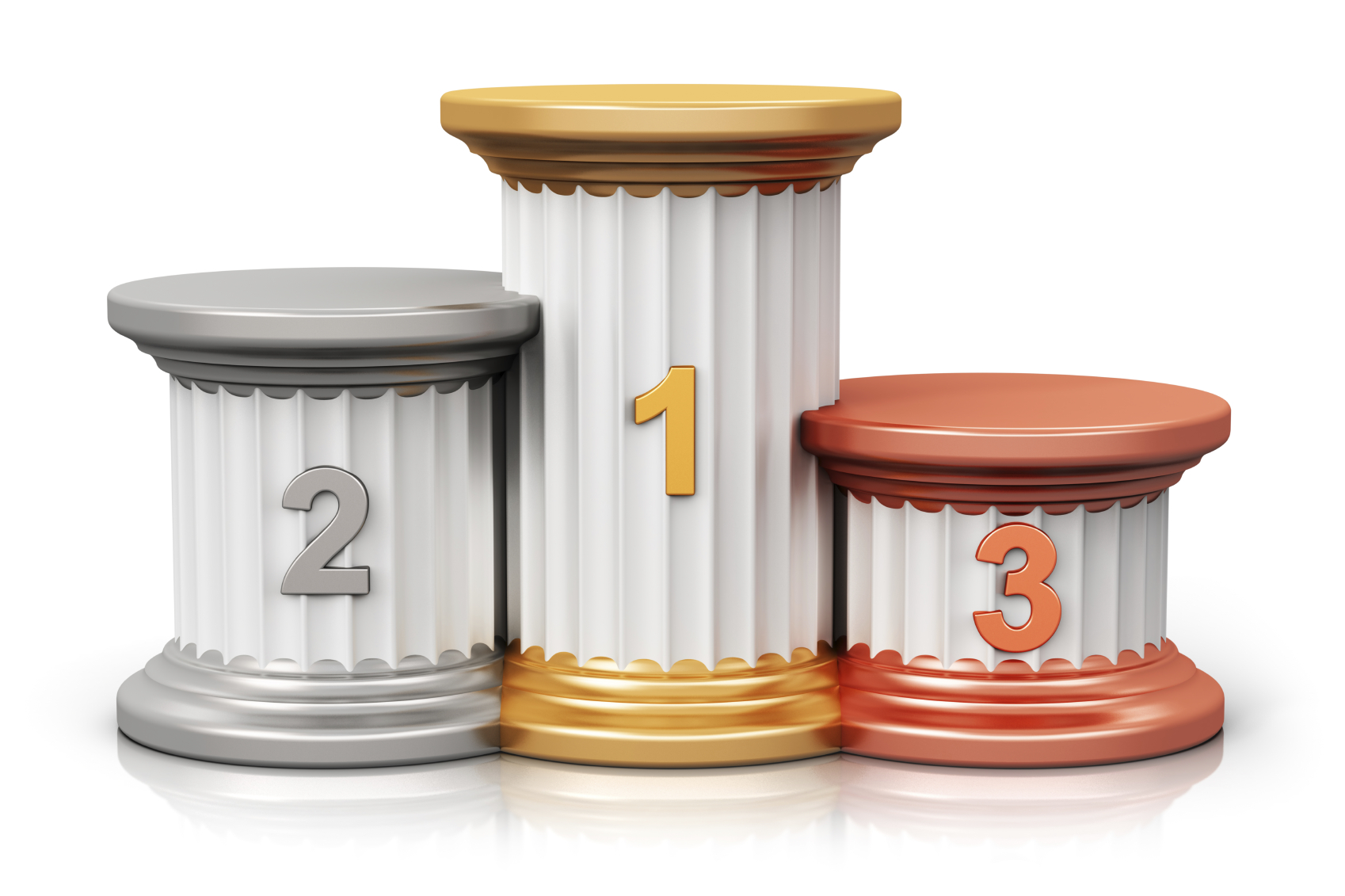 Creative abstract winning, business competition and leadership, award ceremony and success and achievement concept: pedestal with first, second and third place with gold, silver and bronze numbers isolated on white background with reflection effect