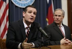 U.S. Sen. Ted Cruz (L) and Governor Greg Abbott  (Photo by Erich Schlegel/Getty Images)
