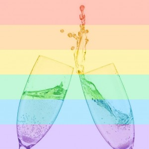 rainbow filter champagne glasses