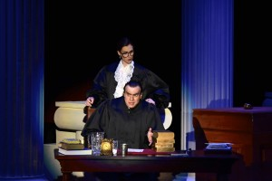 Ellen Wieser as Justice Ruth Bader Ginsburg and John Overholt as Justice Antonin Scalia in Derrick Wang's opera, Scalia/Ginsburg.