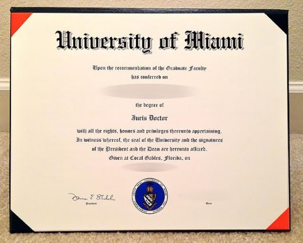 Law degree orders in college