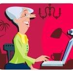old lady lawyer elderly woman grandmother grandma laptop computer