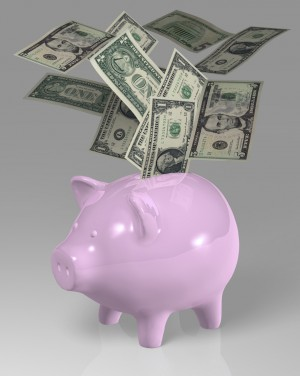 Dollar piggy bank notes