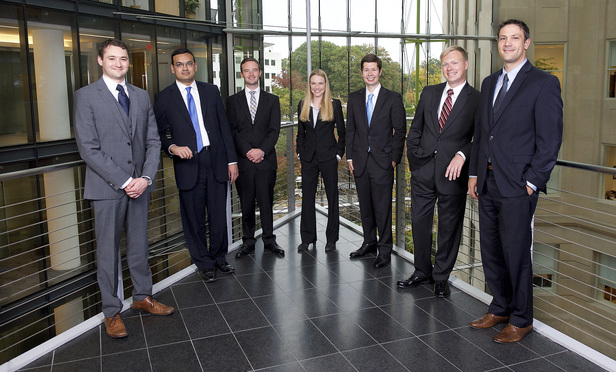 Shown (from left) are some of the 2014-2015 Supreme Court law clerks Jones Day has hired: Benjamin Flowers, Vivek Suri, Andrew Bentz, Lauren Pardee, Brinton Lucas, Ryan Snyder and Robert Stander. Not shown are Ilana Gelfman, Amanda Rice and Eli Savit.  HANDOUT.