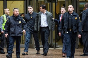 Evan Greebel's Perp Walk (Photo by Andrew Burton/Getty Images)