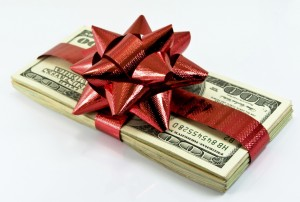 bonus money gift ribbon present