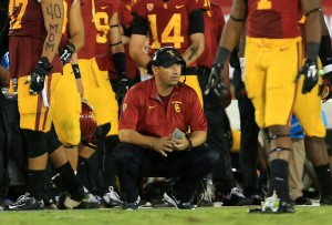 LOS ANGELES, CA - OCTOBER 04:  Head Coach Steve Sarkisian looks on from the side lines in the fourth quarter during their game at Los Angeles Memorial Coliseum against the Arizona State Sun Devils on October 4, 2014 in Los Angeles, California. The Sun Devils defeated the Trojans 38-34. (Photo by Victor Decolongon/Getty Images)