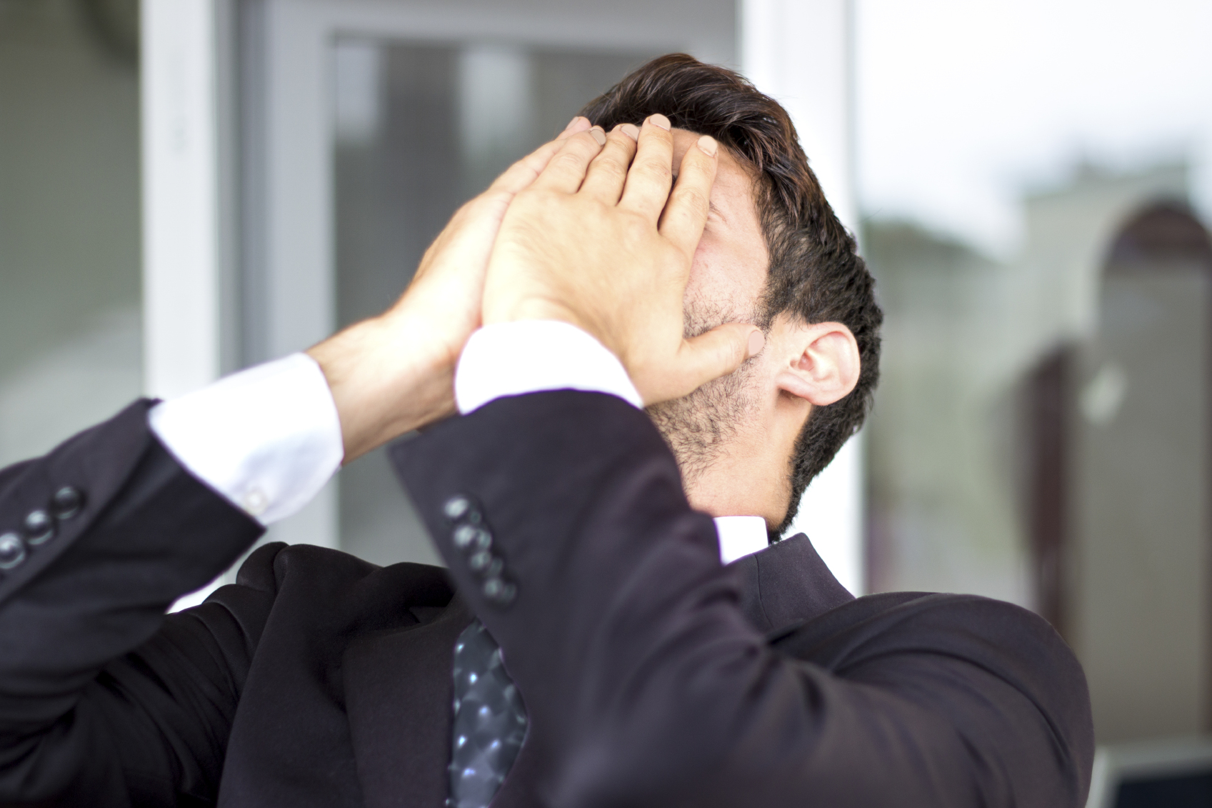 Frustrated businesman in office