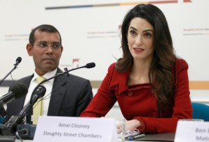 President Nasheed of the Maldives And His Lawyer, Amal Clooney. (Photo by Chris Jackson/Getty Images)