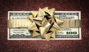 Biglaw bonus money 100 dollar bill ribbon