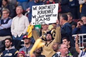 ST. LOUIS, MO - DECEMBER 17: A fan displays a sign in support of keeping the St. Louis Rams in St. Louis during the final home game of the season against the Tampa Bay Buccaneers at the Edward Jones Dome on December 17, 2015 in St. Louis, Missouri. (Photo by Michael B. Thomas/Getty Images)