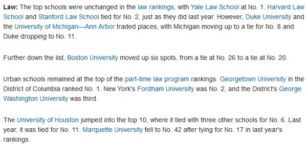 New york university us news and world report ranking