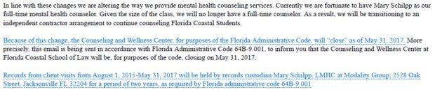 Florida Coastal Mental Health Email