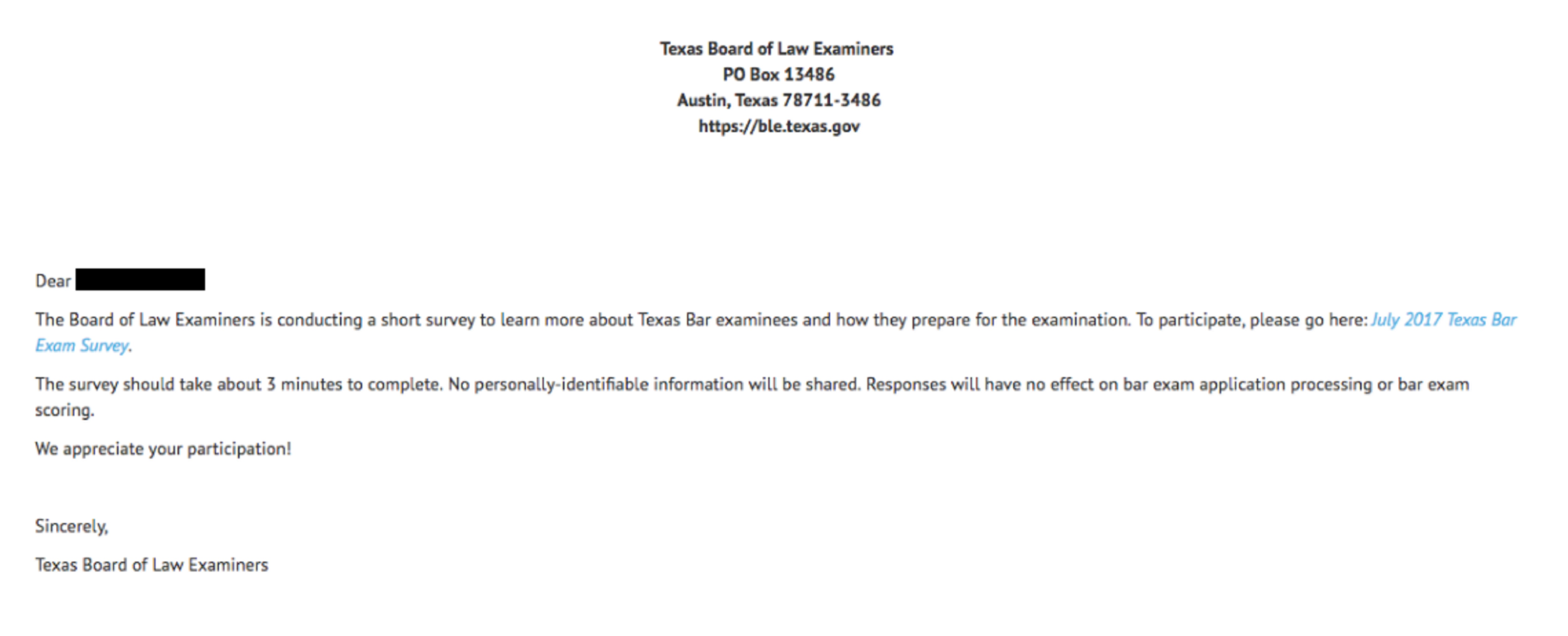 Texas Tricks Law Grads Into Thinking Bar Exam Results Have Been - Texas legal documents