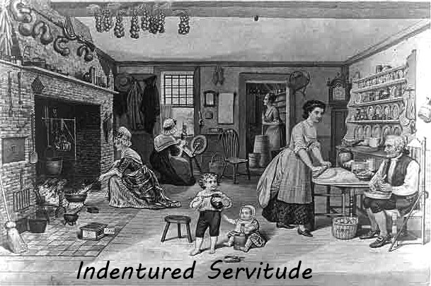 indentured servants An indentured servant was a person who was contracted to go to the american colonies to work in exchange for payment for the trip, as well as room and board contracts, or indentures, were usually valid for between four and seven years.