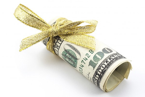 bonus money gold ribbon cash 100 dollar bill benjamin