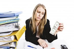 sad female lawyer dollar bill