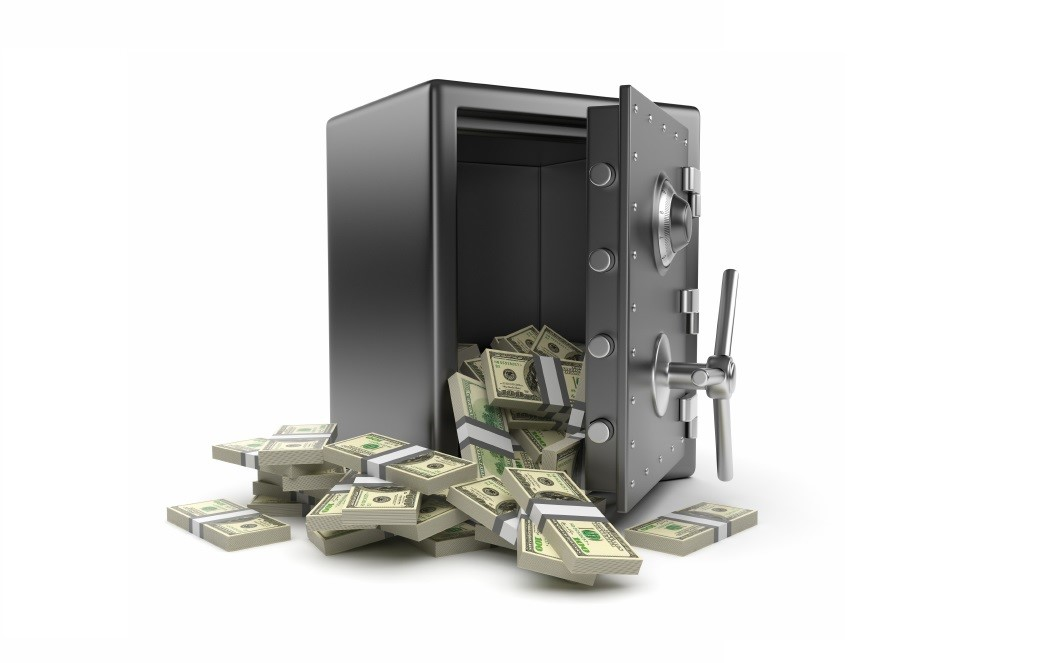 Steel safe box and money 3D. Protection of finance concept. Isol